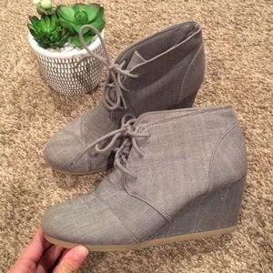 Gray Wedge Booties